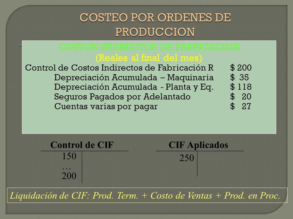 COSTOS INDIRECTOS DE FABRICACION (Reales al final del mes) Control de Costos Indirectos de Fabricación R$ 200 Depreciación Acumulada – Maquinaria$ 35 Depreciación Acumulada - Planta y Eq.$ 118 Seguros Pagados por Adelantado$ 20 Cuentas varias por pagar$ 27 Control de CIF 150 … 200 250 CIF Aplicados Liquidación de CIF: Prod.