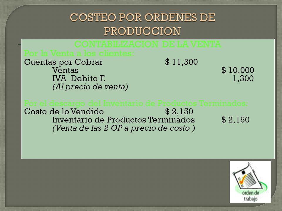 CONTABILIZACION DE LA VENTA Por la Venta a los clientes: Cuentas por Cobrar$ 11,300 Ventas$ 10,000 IVA Debito F.