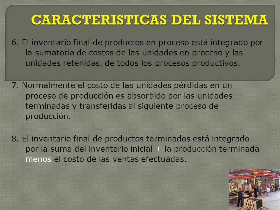 6. El inventario final de productos en proceso está integrado por la sumatoria de costos de las unidades en proceso y las unidades retenidas, de todos