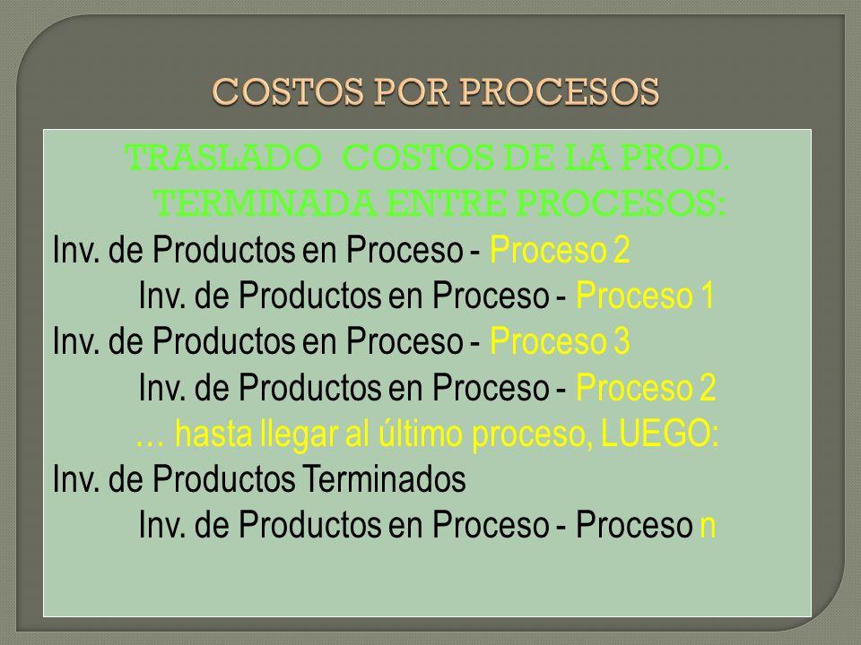 TRASLADO COSTOS DE LA PROD. TERMINADA ENTRE PROCESOS: Inv. de Productos en Proceso - Proceso 2 Inv. de Productos en Proceso - Proceso 1 Inv. de Produc
