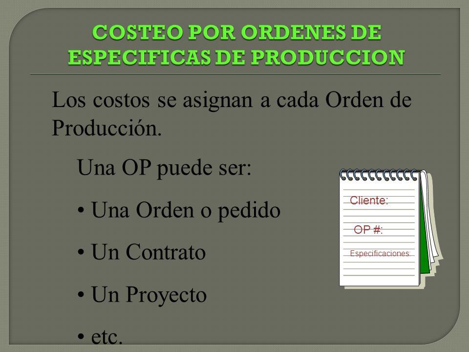 Los costos se asignan a cada Orden de Producción. Una OP puede ser: Una Orden o pedido Un Contrato Un Proyecto etc. Cliente: OP #: Especificaciones: