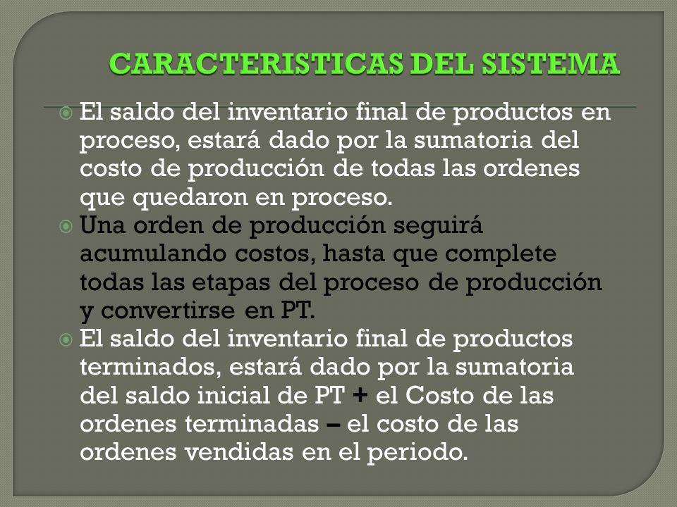 El saldo del inventario final de productos en proceso, estará dado por la sumatoria del costo de producción de todas las ordenes que quedaron en proceso.