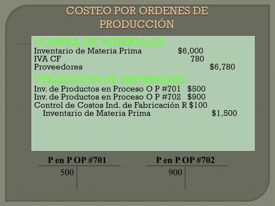 COMPRA DE MATERIALES Inventario de Materia Prima $6,000 IVA CF 780 Proveedores $6,780 UTILIZACION DE MATERIALES Inv. de Productos en Proceso O P #701
