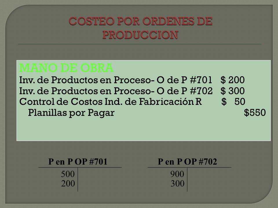 MANO DE OBRA Inv. de Productos en Proceso- O de P #701 $ 200 Inv. de Productos en Proceso- O de P #702 $ 300 Control de Costos Ind. de Fabricación R $