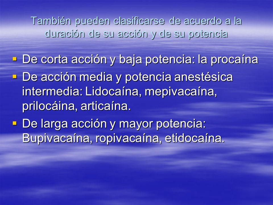 También pueden clasificarse de acuerdo a la duración de su acción y de su potencia De corta acción y baja potencia: la procaína De corta acción y baja