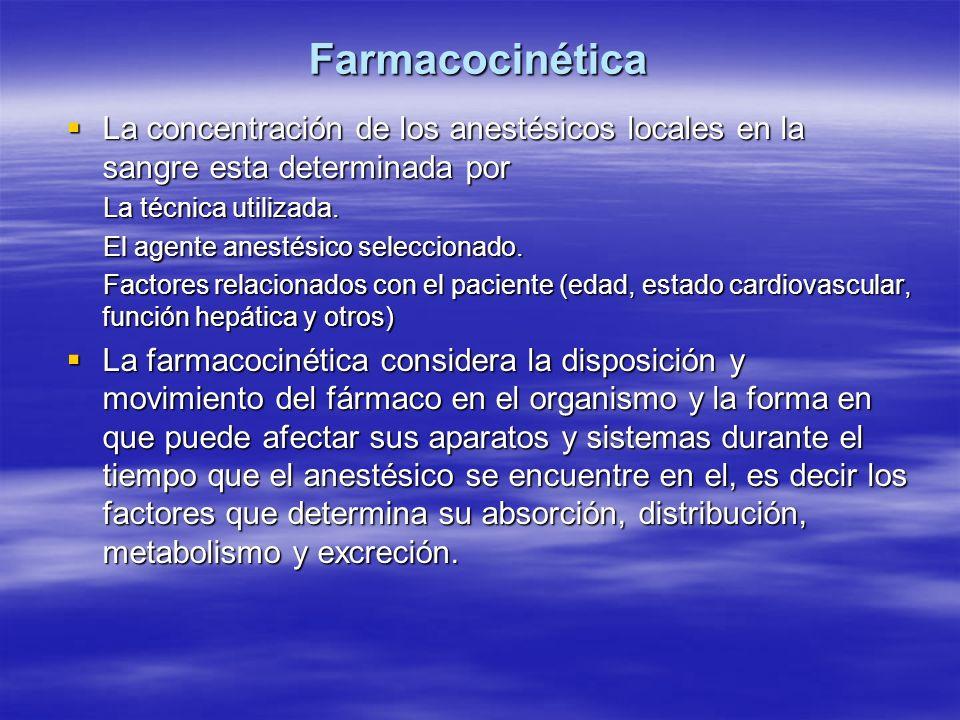 Farmacocinética La concentración de los anestésicos locales en la sangre esta determinada por La concentración de los anestésicos locales en la sangre