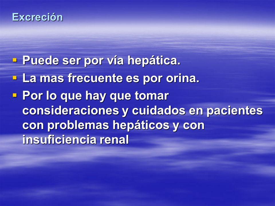 Excreción Puede ser por vía hepática. Puede ser por vía hepática. La mas frecuente es por orina. La mas frecuente es por orina. Por lo que hay que tom