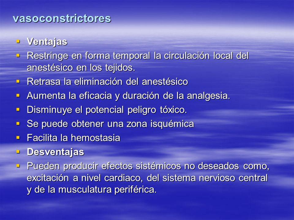 vasoconstrictores Ventajas Ventajas Restringe en forma temporal la circulación local del anestésico en los tejidos. Restringe en forma temporal la cir