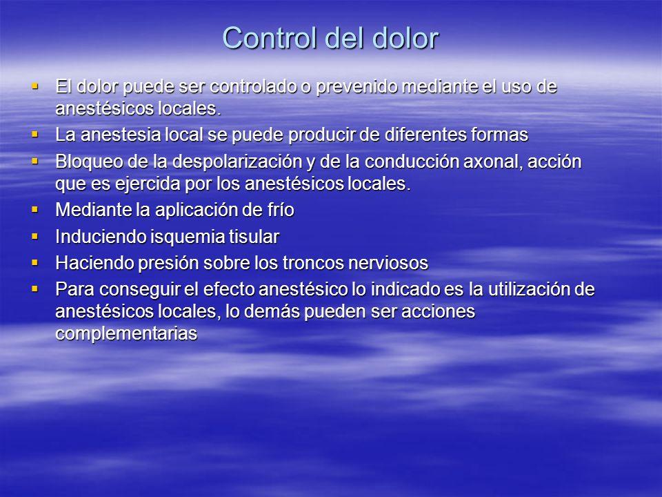 Control del dolor El dolor puede ser controlado o prevenido mediante el uso de anestésicos locales. El dolor puede ser controlado o prevenido mediante