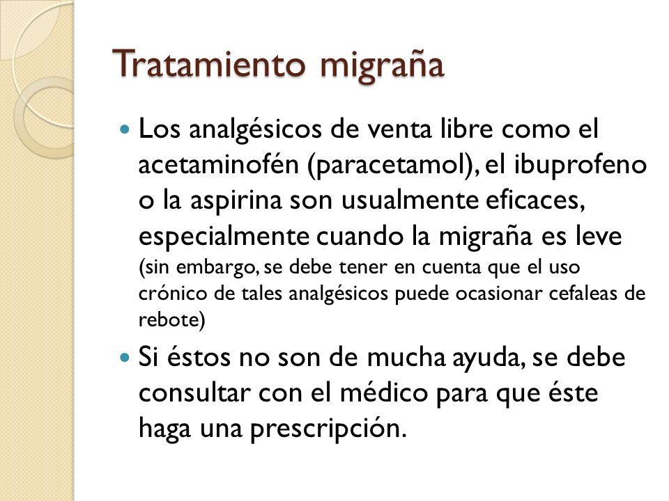 Los analgésicos de venta libre como el acetaminofén (paracetamol), el ibuprofeno o la aspirina son usualmente eficaces, especialmente cuando la migrañ