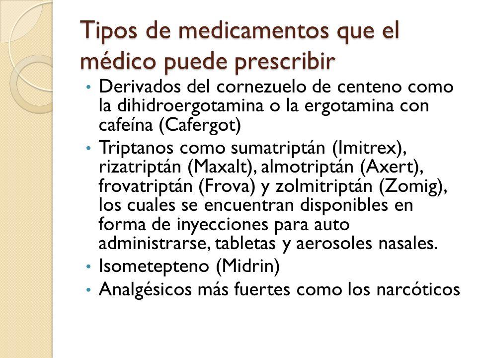 Derivados del cornezuelo de centeno como la dihidroergotamina o la ergotamina con cafeína (Cafergot) Triptanos como sumatriptán (Imitrex), rizatriptán