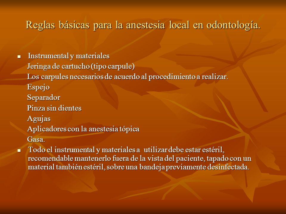 Reglas básicas para la anestesia local en odontología. Instrumental y materiales Instrumental y materiales Jeringa de cartucho (tipo carpule) Jeringa