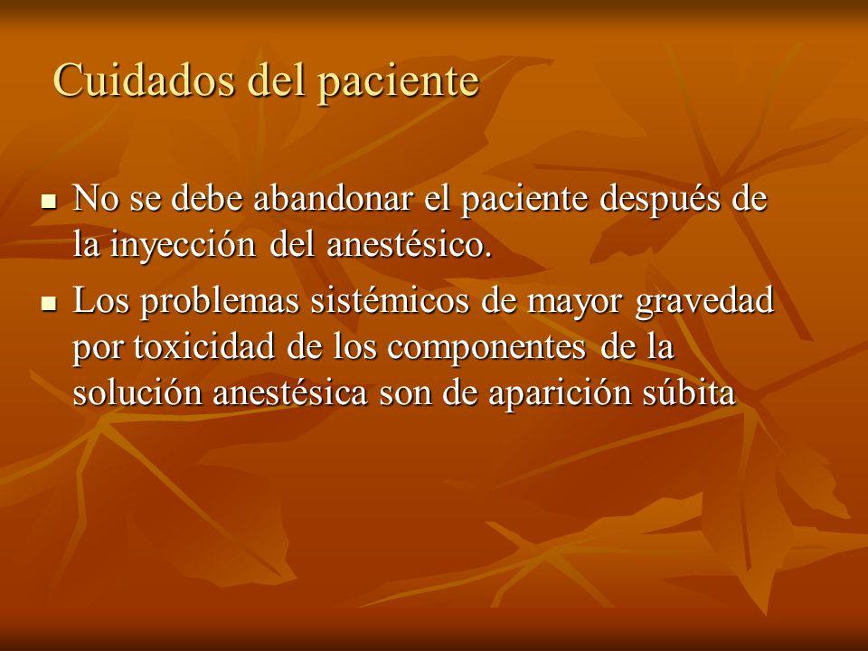 Cuidados del paciente No se debe abandonar el paciente después de la inyección del anestésico. No se debe abandonar el paciente después de la inyecció