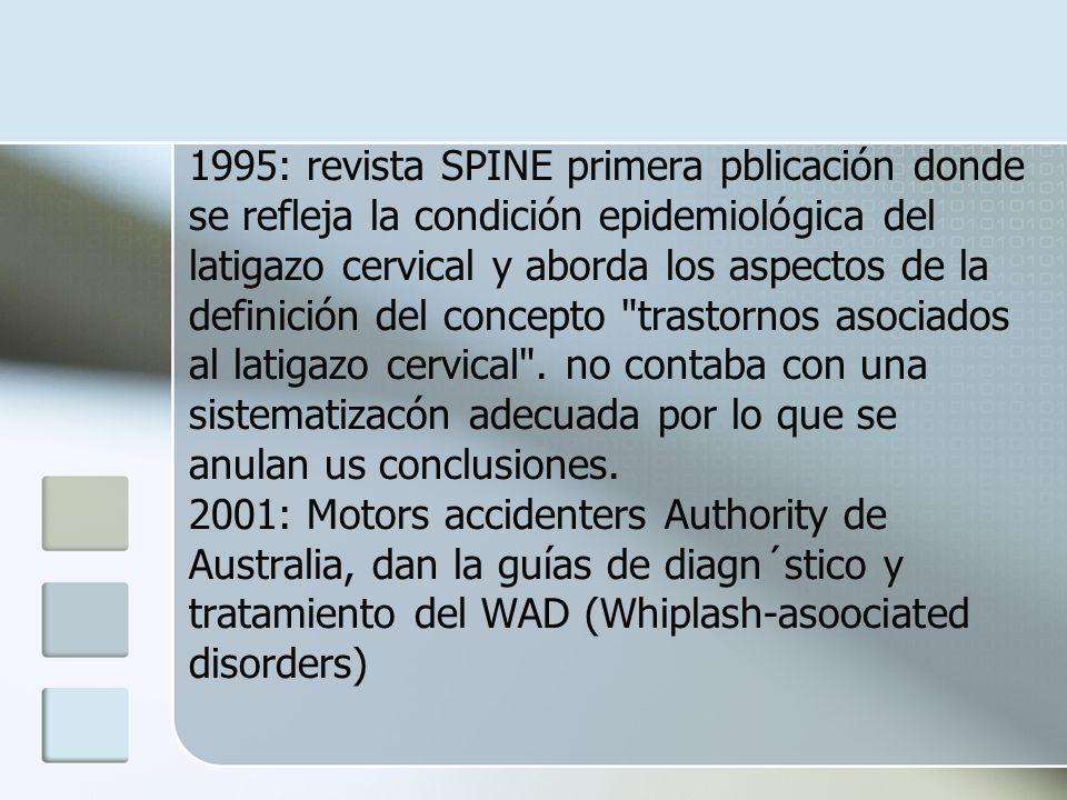 1995: revista SPINE primera pblicación donde se refleja la condición epidemiológica del latigazo cervical y aborda los aspectos de la definición del c