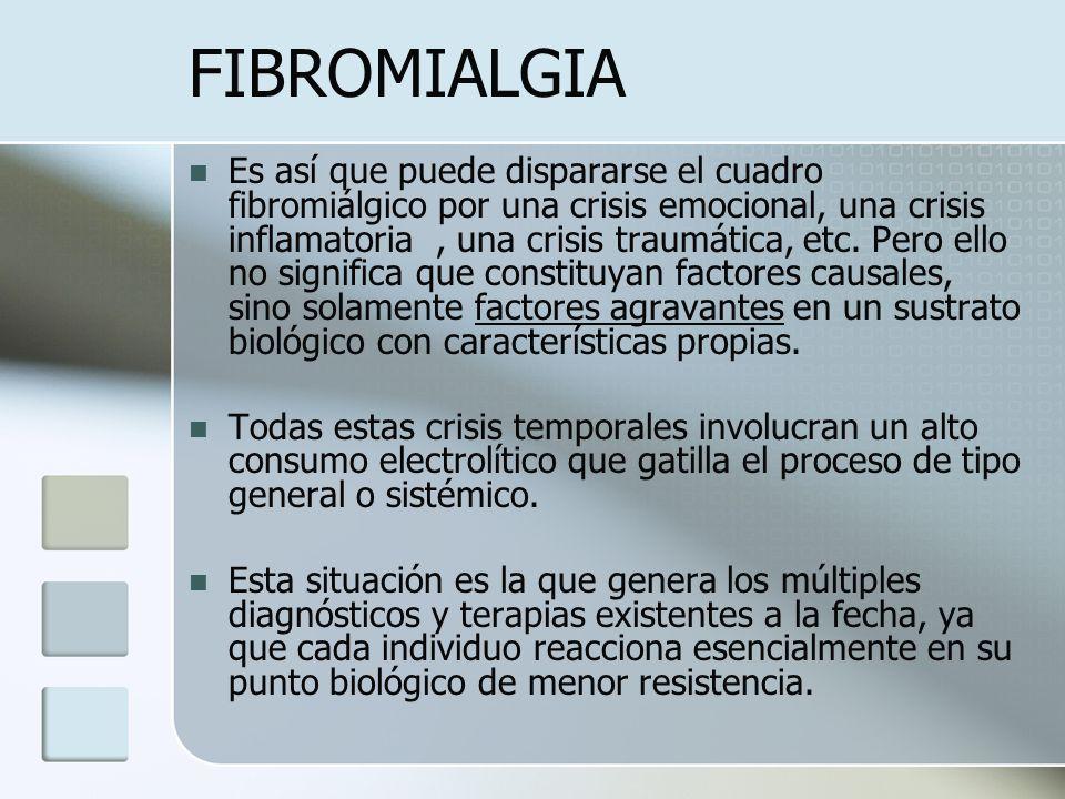 FIBROMIALGIA Es así que puede dispararse el cuadro fibromiálgico por una crisis emocional, una crisis inflamatoria, una crisis traumática, etc. Pero e