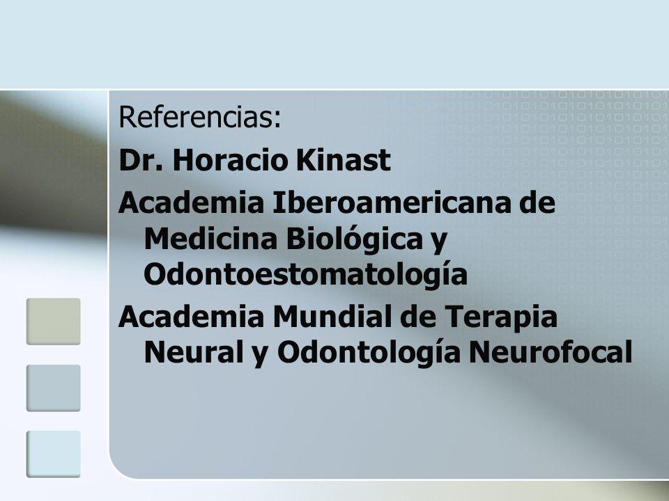 Referencias: Dr. Horacio Kinast Academia Iberoamericana de Medicina Biológica y Odontoestomatología Academia Mundial de Terapia Neural y Odontología N