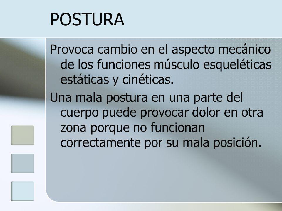 POSTURA Provoca cambio en el aspecto mecánico de los funciones músculo esqueléticas estáticas y cinéticas. Una mala postura en una parte del cuerpo pu
