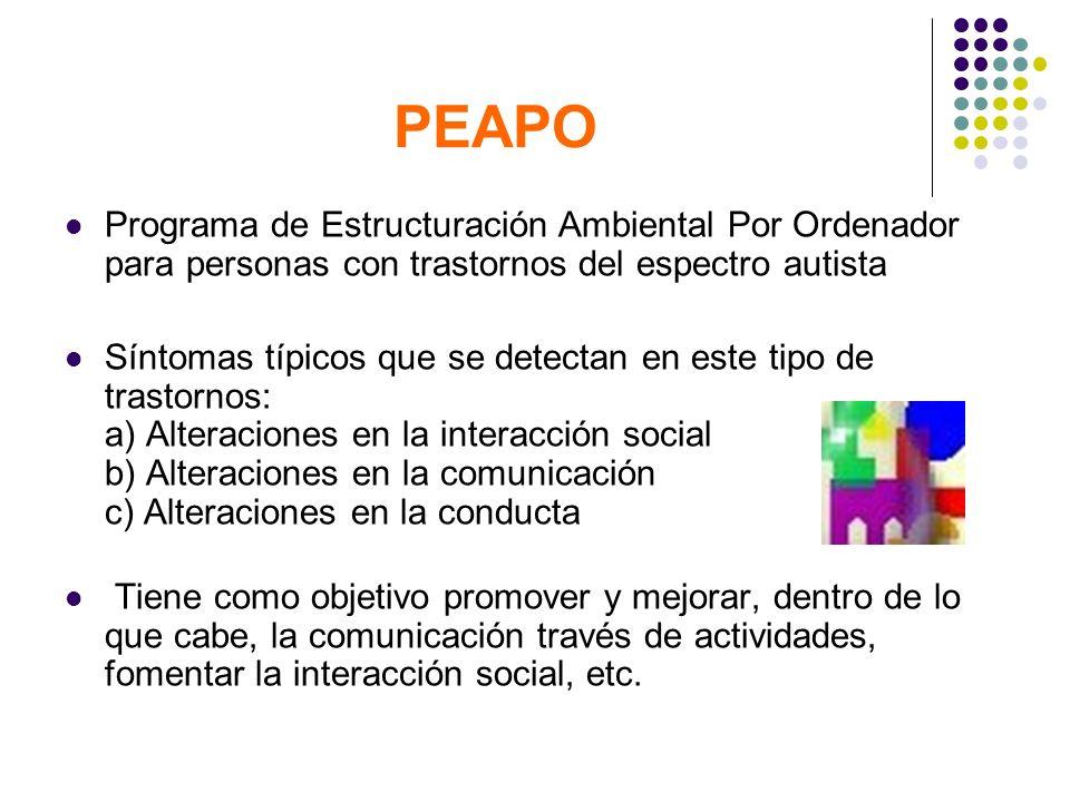 PEAPO Programa de Estructuración Ambiental Por Ordenador para personas con trastornos del espectro autista Síntomas típicos que se detectan en este ti