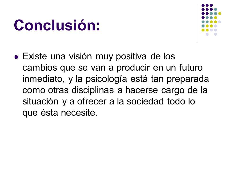 Conclusión: Existe una visión muy positiva de los cambios que se van a producir en un futuro inmediato, y la psicología está tan preparada como otras