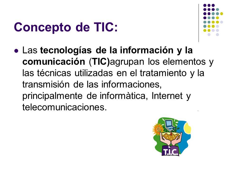 Concepto de TIC: Las tecnologías de la información y la comunicación (TIC)agrupan los elementos y las técnicas utilizadas en el tratamiento y la trans