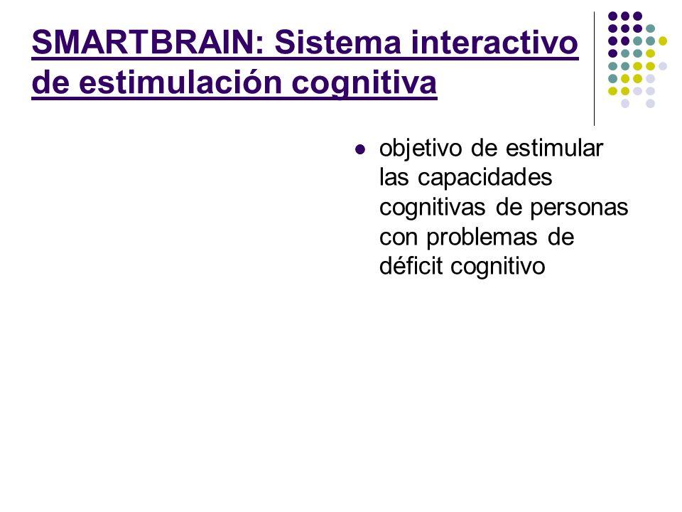SMARTBRAIN: Sistema interactivo de estimulación cognitiva objetivo de estimular las capacidades cognitivas de personas con problemas de déficit cognit