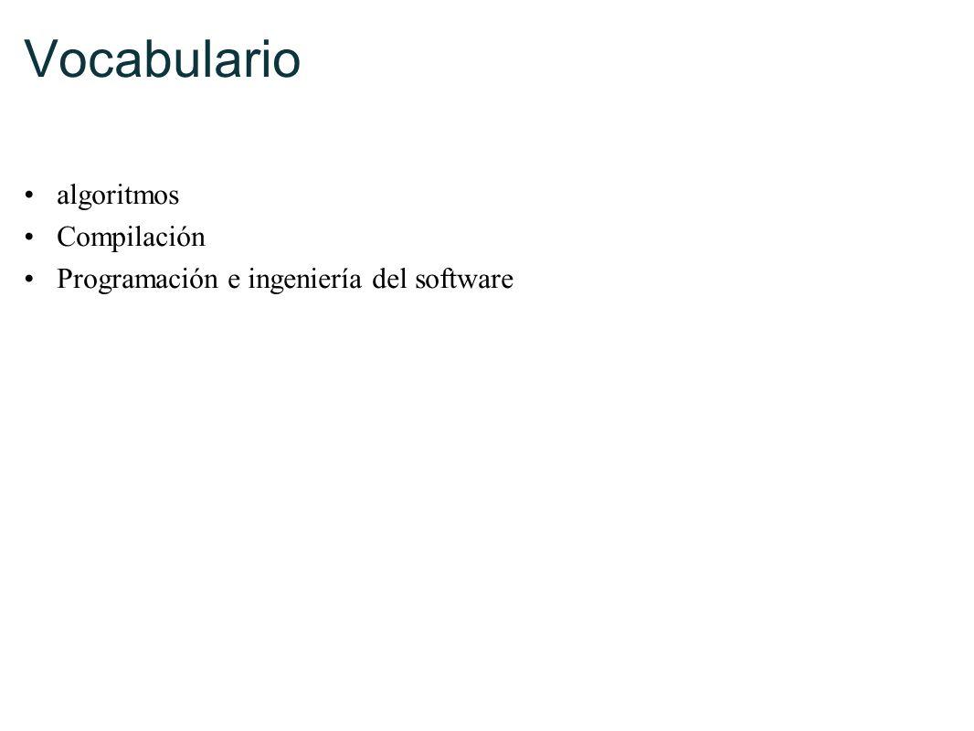 Vocabulario algoritmos Compilación Programación e ingeniería del software