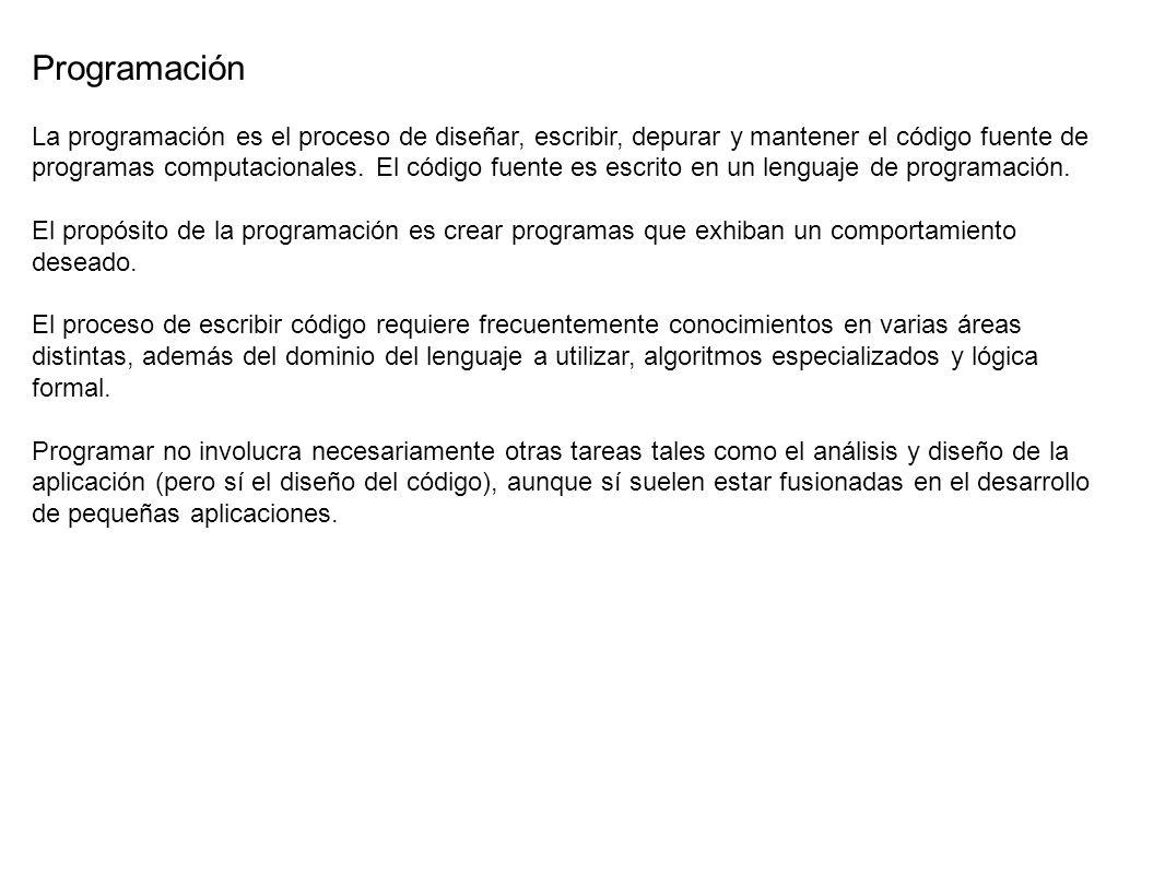 Historia Para crear un programa, y que la computadora interprete y ejecute las instrucciones escritas en él, debe usarse un Lenguaje de programación.
