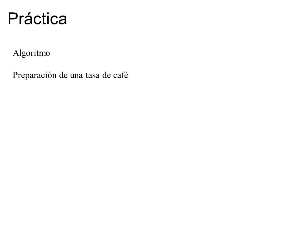 Práctica Algoritmo Preparación de una tasa de café