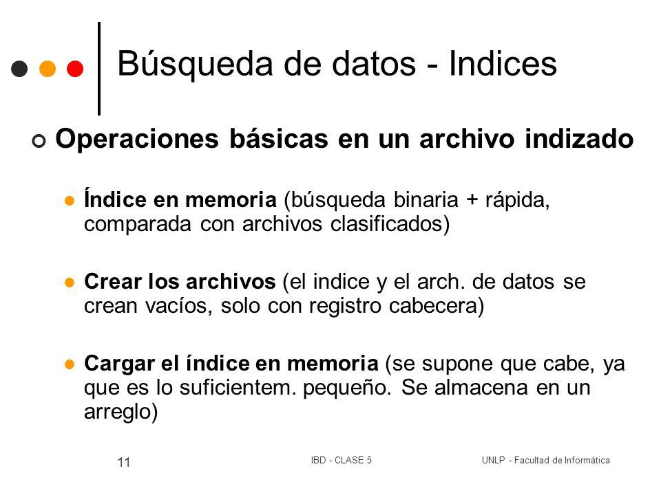 UNLP - Facultad de InformáticaIBD - CLASE 5 11 Búsqueda de datos - Indices Operaciones básicas en un archivo indizado Índice en memoria (búsqueda bina