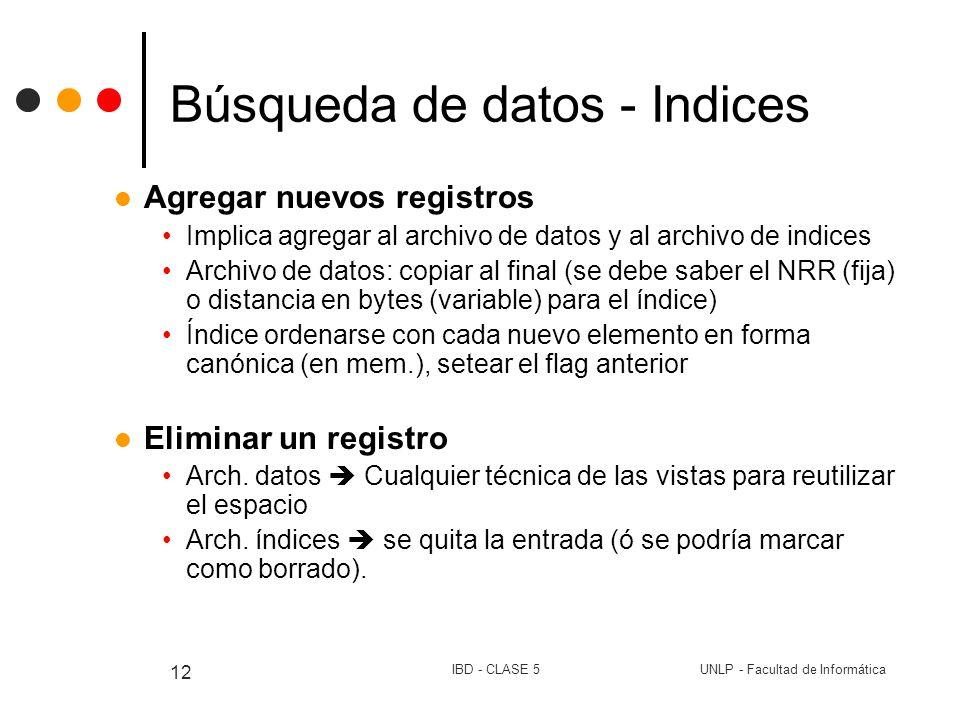 UNLP - Facultad de InformáticaIBD - CLASE 5 12 Búsqueda de datos - Indices Agregar nuevos registros Implica agregar al archivo de datos y al archivo d