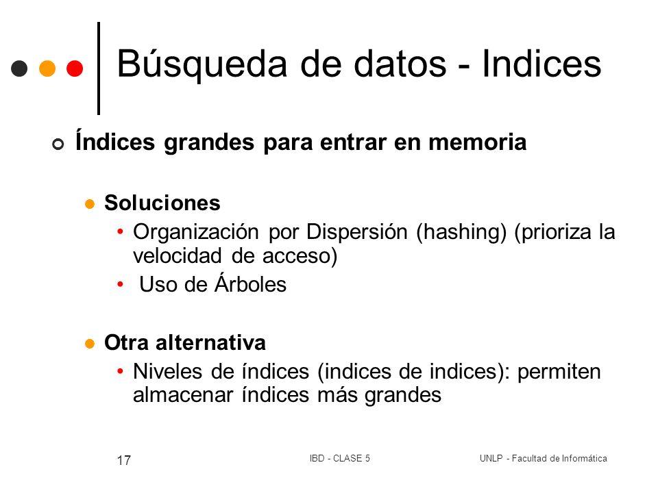 UNLP - Facultad de InformáticaIBD - CLASE 5 17 Búsqueda de datos - Indices Índices grandes para entrar en memoria Soluciones Organización por Dispersi