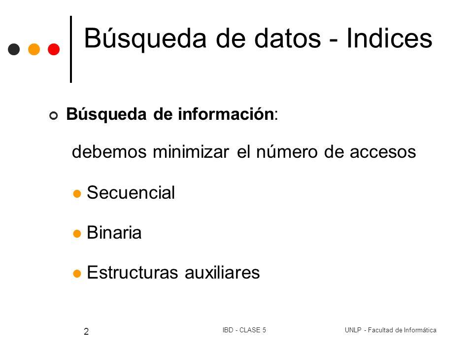 UNLP - Facultad de InformáticaIBD - CLASE 5 2 Búsqueda de datos - Indices Búsqueda de información: debemos minimizar el número de accesos Secuencial B