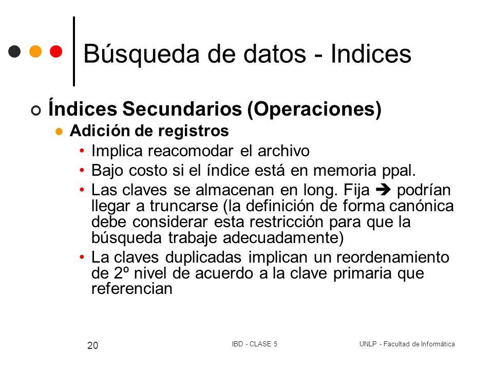 UNLP - Facultad de InformáticaIBD - CLASE 5 20 Búsqueda de datos - Indices Índices Secundarios (Operaciones) Adición de registros Implica reacomodar e