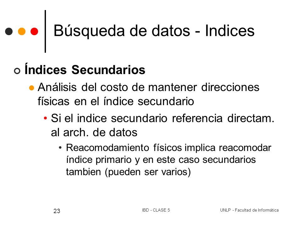 UNLP - Facultad de InformáticaIBD - CLASE 5 23 Búsqueda de datos - Indices Índices Secundarios Análisis del costo de mantener direcciones físicas en e