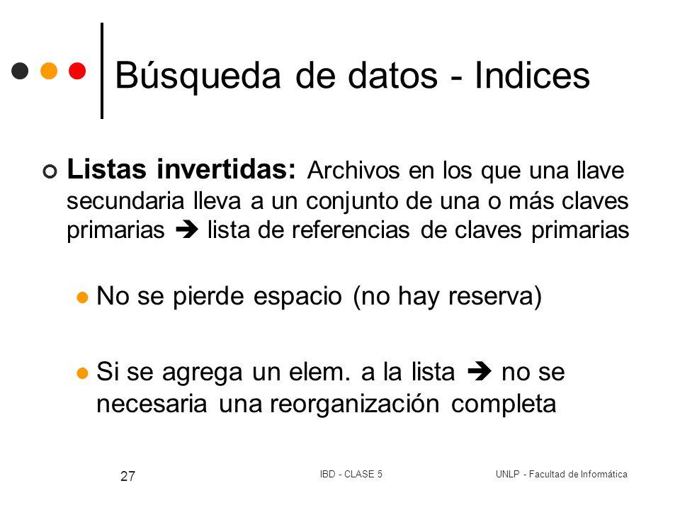 UNLP - Facultad de InformáticaIBD - CLASE 5 27 Búsqueda de datos - Indices Listas invertidas: Archivos en los que una llave secundaria lleva a un conj