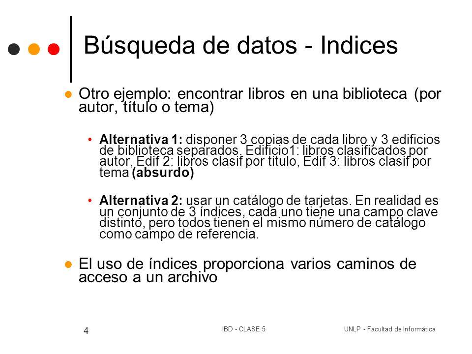UNLP - Facultad de InformáticaIBD - CLASE 5 4 Búsqueda de datos - Indices Otro ejemplo: encontrar libros en una biblioteca (por autor, título o tema)