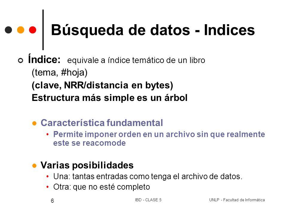 UNLP - Facultad de InformáticaIBD - CLASE 5 6 Búsqueda de datos - Indices Índice: equivale a índice temático de un libro (tema, #hoja) (clave, NRR/dis