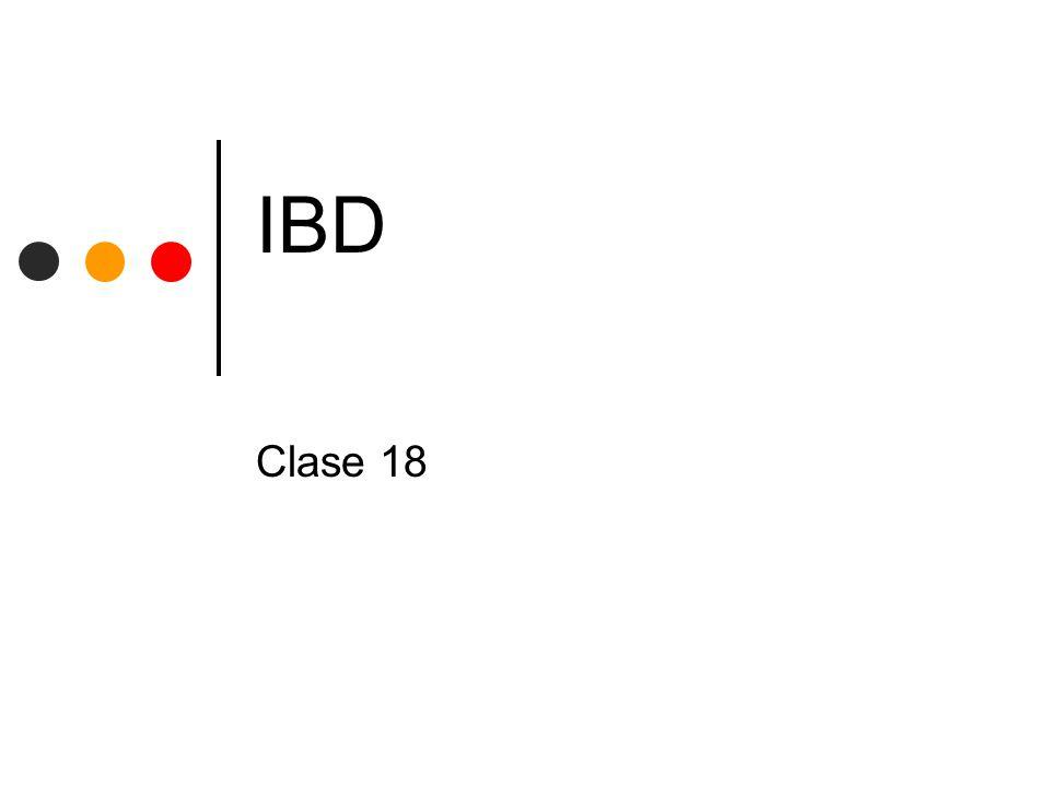 UNLP - Facultad de InformáticaIBD - CLASE 18 22 Control de Concurrencia Bloqueo Cuando una Transacción deba asegurarse que algún objeto sobre el que tenga interés (una tupla) no cambiará mientras lo use, adquiere un Bloqueo sobre ese objeto Dos tipos de Bloqueos: Exclusivos (de escritura) Compartidos (de lectura)