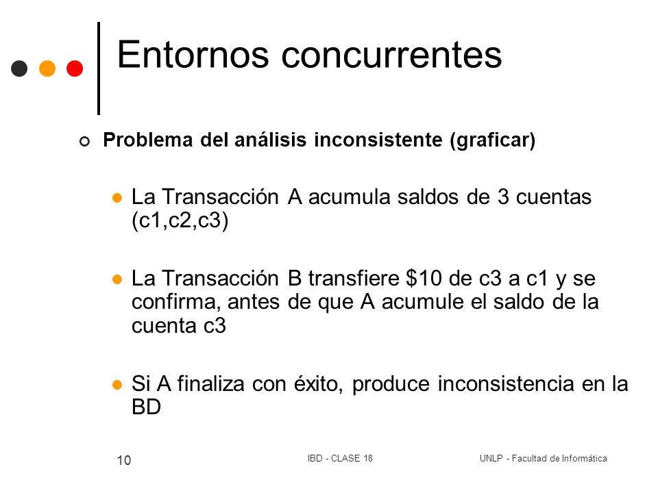UNLP - Facultad de InformáticaIBD - CLASE 18 10 Entornos concurrentes Problema del análisis inconsistente (graficar) La Transacción A acumula saldos d