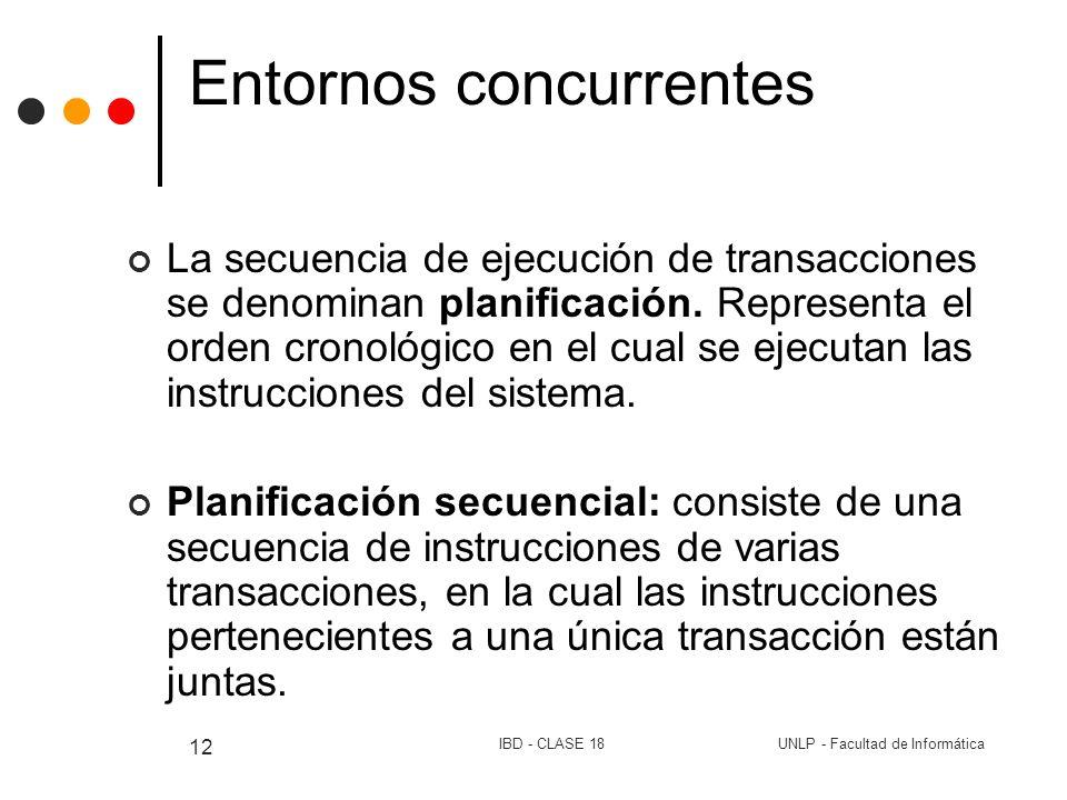 UNLP - Facultad de InformáticaIBD - CLASE 18 12 Entornos concurrentes La secuencia de ejecución de transacciones se denominan planificación. Represent