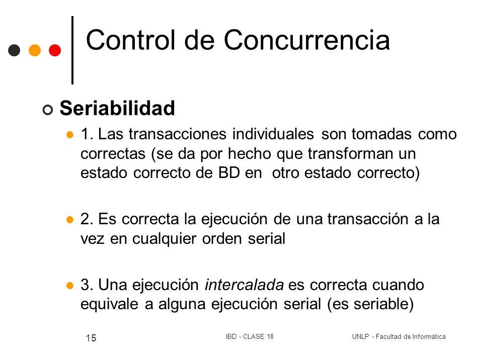 UNLP - Facultad de InformáticaIBD - CLASE 18 15 Control de Concurrencia Seriabilidad 1. Las transacciones individuales son tomadas como correctas (se