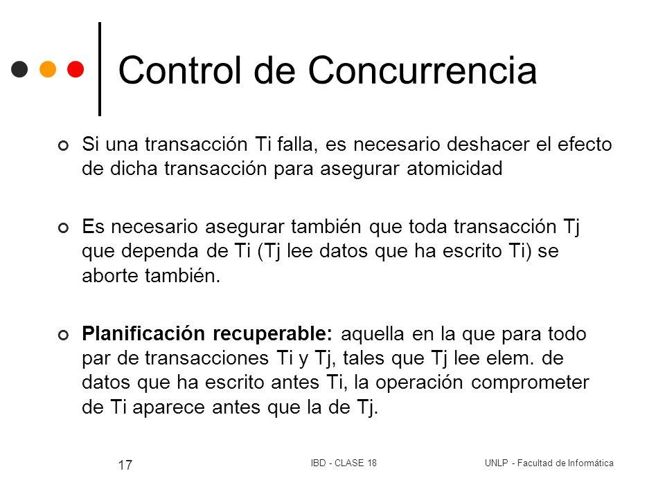 UNLP - Facultad de InformáticaIBD - CLASE 18 17 Control de Concurrencia Si una transacción Ti falla, es necesario deshacer el efecto de dicha transacc