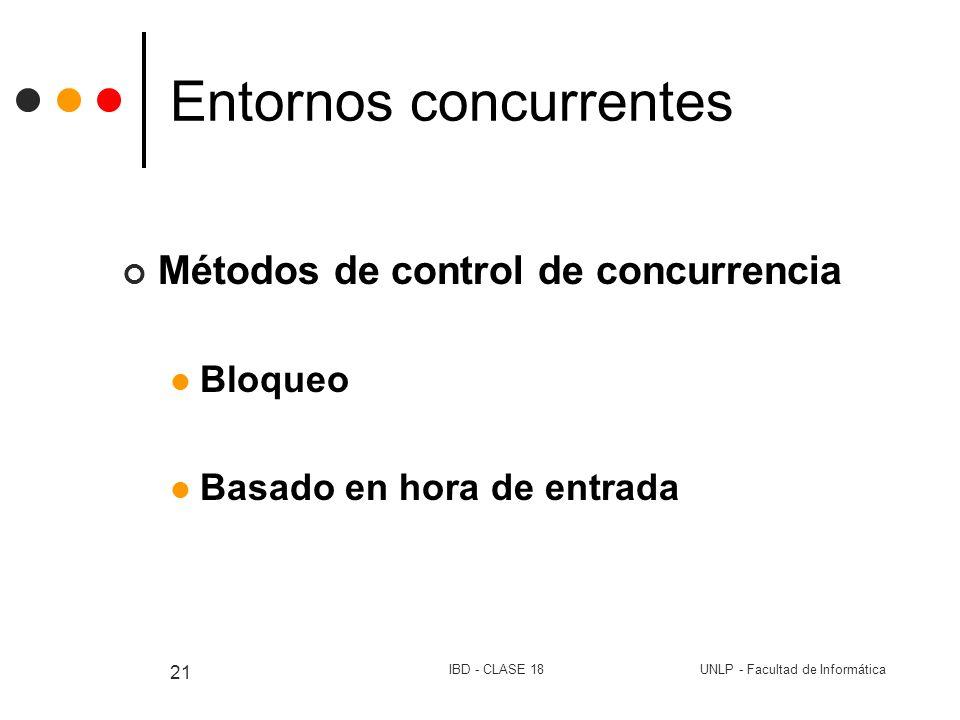 UNLP - Facultad de InformáticaIBD - CLASE 18 21 Entornos concurrentes Métodos de control de concurrencia Bloqueo Basado en hora de entrada