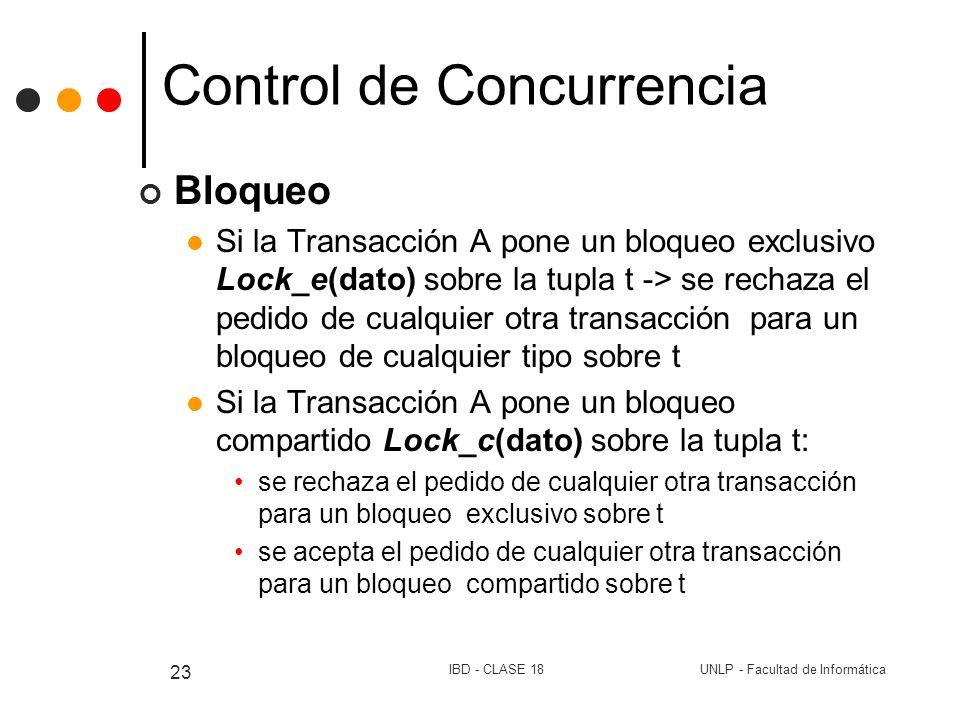 UNLP - Facultad de InformáticaIBD - CLASE 18 23 Control de Concurrencia Bloqueo Si la Transacción A pone un bloqueo exclusivo Lock_e(dato) sobre la tu