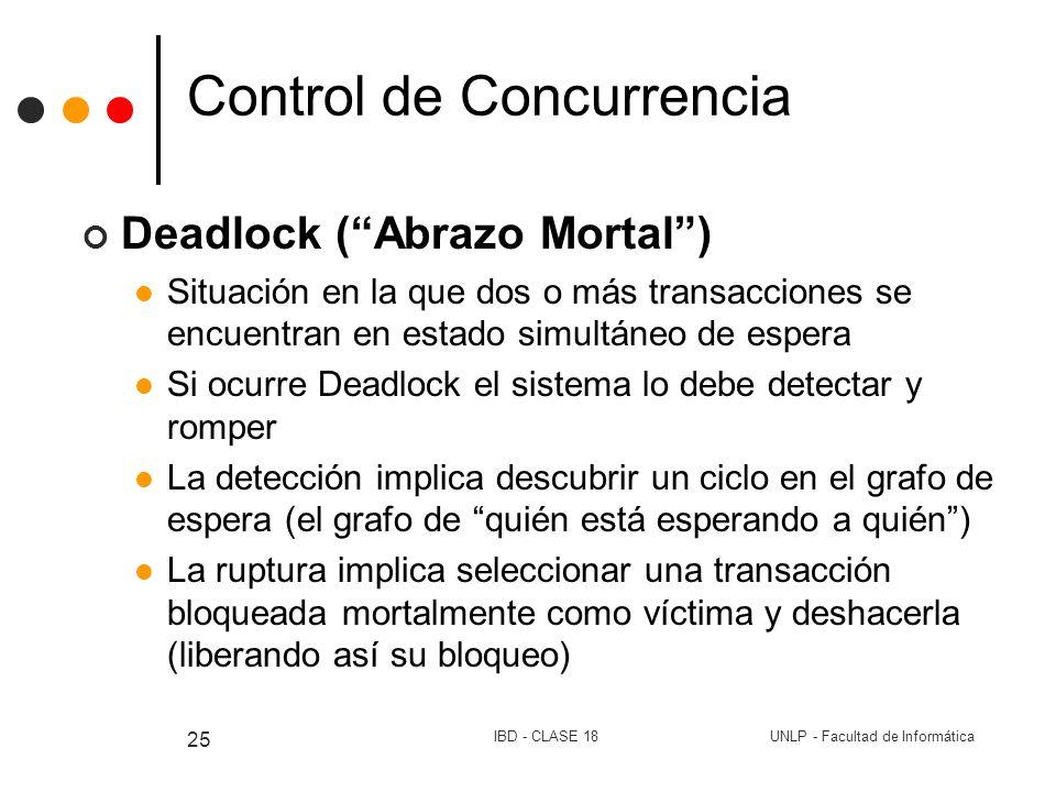 UNLP - Facultad de InformáticaIBD - CLASE 18 25 Control de Concurrencia Deadlock (Abrazo Mortal) Situación en la que dos o más transacciones se encuen