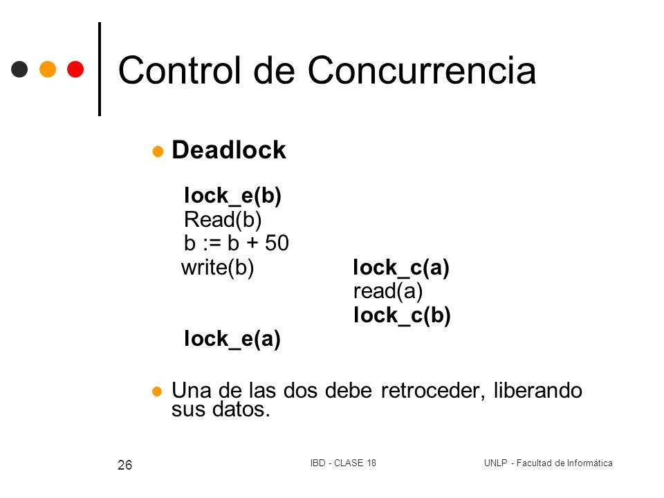 UNLP - Facultad de InformáticaIBD - CLASE 18 26 Control de Concurrencia Deadlock lock_e(b) Read(b) b := b + 50 write(b) lock_c(a) read(a) lock_c(b) lo