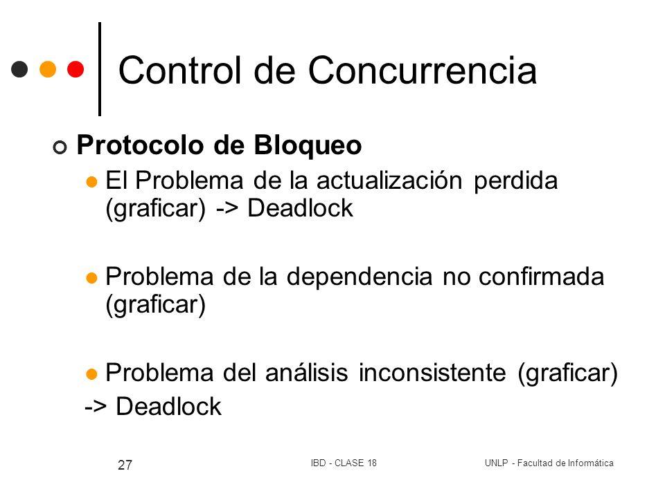 UNLP - Facultad de InformáticaIBD - CLASE 18 27 Control de Concurrencia Protocolo de Bloqueo El Problema de la actualización perdida (graficar) -> Dea
