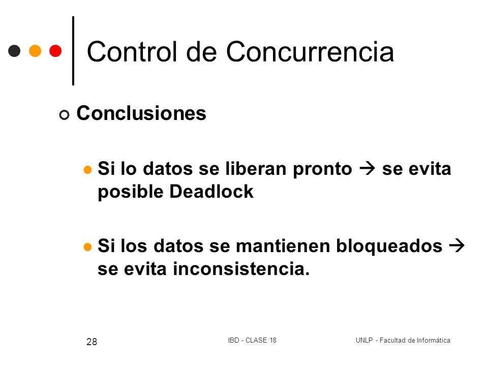 UNLP - Facultad de InformáticaIBD - CLASE 18 28 Control de Concurrencia Conclusiones Si lo datos se liberan pronto se evita posible Deadlock Si los da