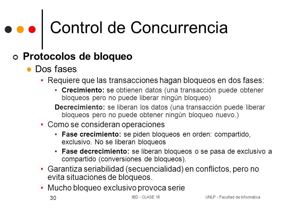 UNLP - Facultad de InformáticaIBD - CLASE 18 30 Control de Concurrencia Protocolos de bloqueo Dos fases Requiere que las transacciones hagan bloqueos
