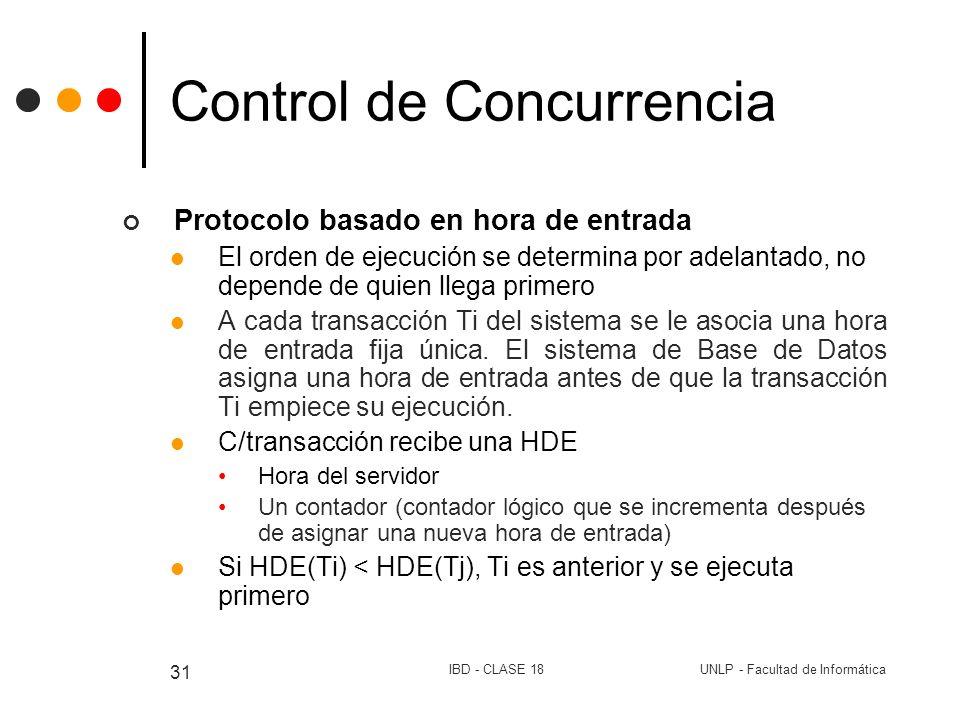 UNLP - Facultad de InformáticaIBD - CLASE 18 31 Control de Concurrencia Protocolo basado en hora de entrada El orden de ejecución se determina por ade